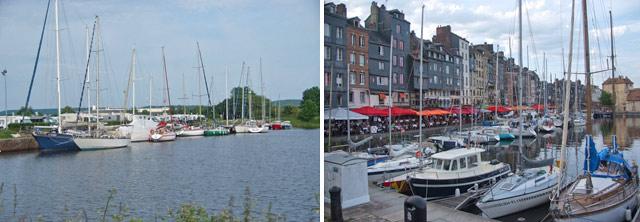 Puerto deportivo de Honfleur, detrás se ve el aparcamiento para autocaravanas / Vieux bassin de Honfleur