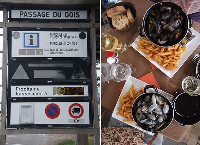 """Panel indicador del horario de la marea / Mejillones """"moules"""" de La Rochele"""