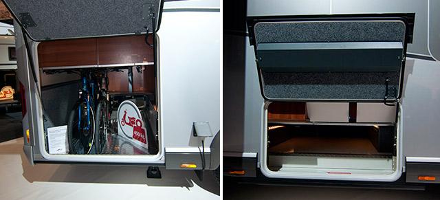 Compartimentos para almacenaje, accesibles exteriormente