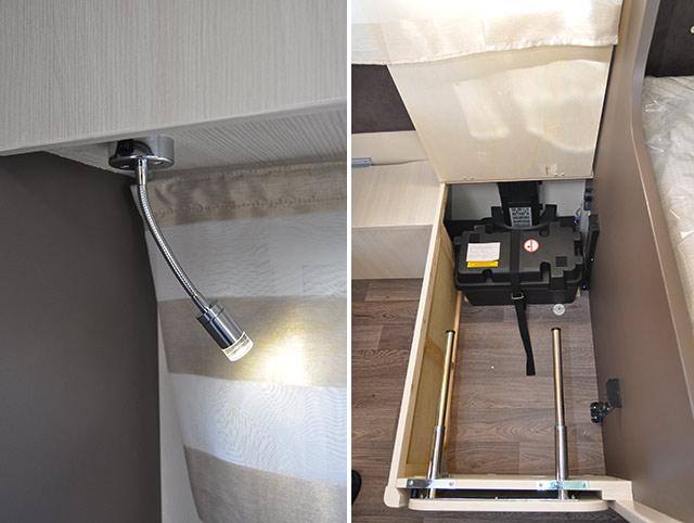 Incorpora focos direccionales de leds / Preinstalación de la batería auxiliar, solo falta esta, situada en un tambucho del salón. Se pueden ver las guías telescópicas de la extensión para la transformación en cama