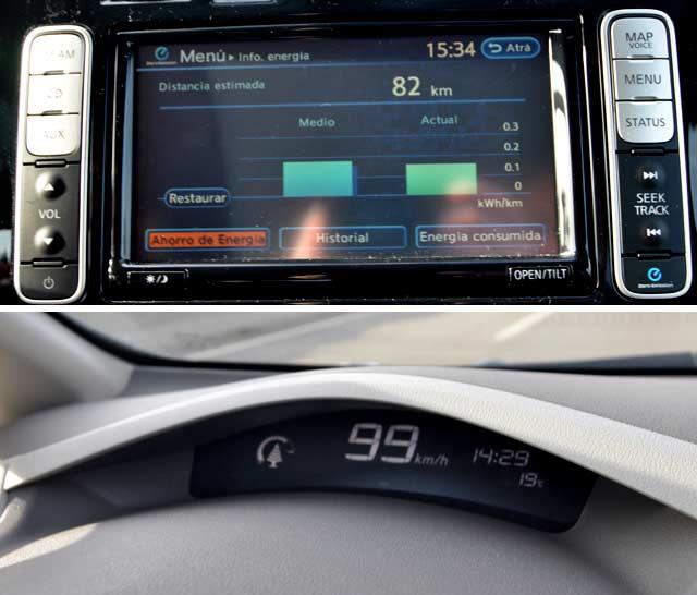 Desde la pantalla central se puede controlar el consumo / Pantalla superior con el arbolito de la eficiencia junto al velocímetro