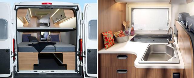 Nuevas soluciones para las Vans como la litera sobre la cama posterior.