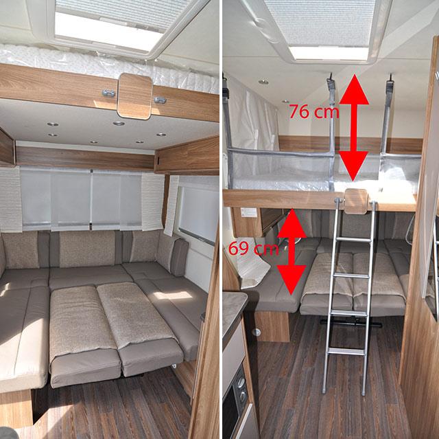 El salón trasero transformado en cama, sin y con la cama escamoteable bajada