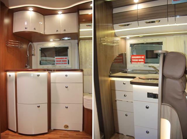 A la izquierda la cocina del Passion I730 LCA, a la derecha del Privilege I690 LC
